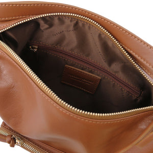 Internal Zip View Of The Cinnamon Convertible Leather Handbag