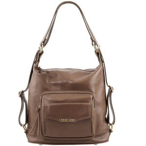 Front View Of The Dark Taupe Convertible Leather Handbag