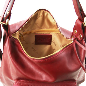 Internal Zip View Of The Red Convertible Leather Handbag