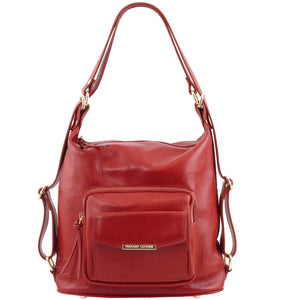 Front View Of The Red Convertible Leather Handbag