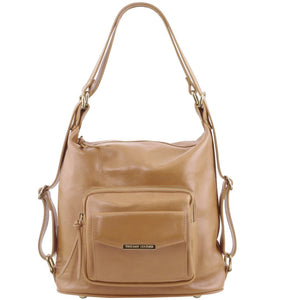 Front View Of The Taupe Convertible Leather Handbag