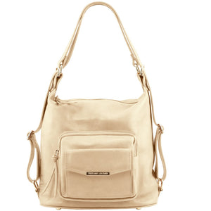 Front View Of The Beige Convertible Leather Handbag