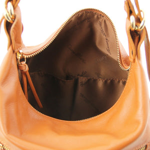 Internal Pockets View Of The Cognac Convertible Leather Handbag