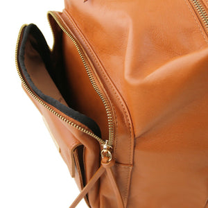 External Zipper Pocket View Of The Cognac Convertible Leather Handbag