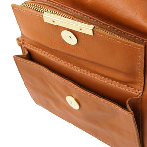 Front Pockets View Of The Cognac Convertible Leather Handbag