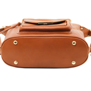 Bottom View Of The Cognac Convertible Leather Handbag