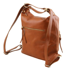 Side View Of The Cognac Convertible Leather Handbag