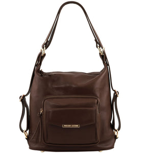 Front View Of The Dark Brown Convertible Leather Handbag