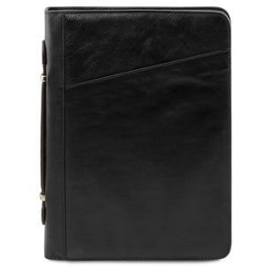 Front View Of The Black Exclusive Leather Portfolio