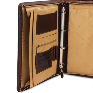 Pockets And Binder View Of The Brown Exclusive Leather Portfolio