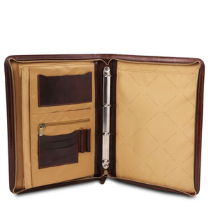 Internal Features View Of The Brown Exclusive Leather Portfolio