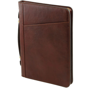 Side View Of The Brown Exclusive Leather Portfolio