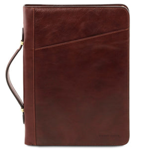 Carry Handle View Of The Brown Exclusive Leather Portfolio