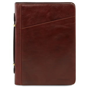 Front View Of The Brown Exclusive Leather Portfolio