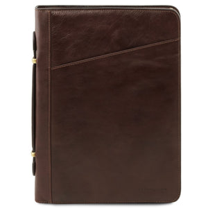 Front View Of The Dark Brown Exclusive Leather Portfolio