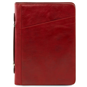 Front View Of The Red Exclusive Leather Portfolio