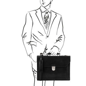 Man Posing With The Black Professional Leather Briefcase