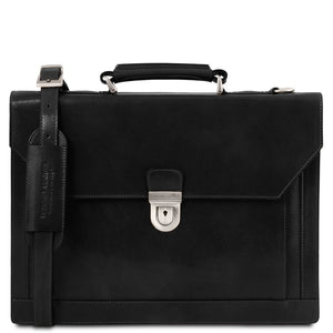 Front View Of The Black Professional Leather Briefcase