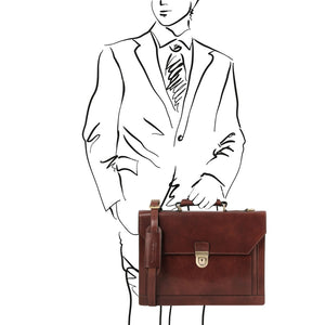 Man Posing With The Dark Brown Professional Leather Briefcase