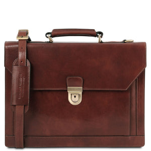 Front View Of The Brown Professional Leather Briefcase