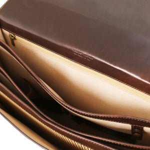 Internal Zip Pocket View Of The Dark Brown Professional Leather Briefcase