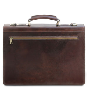 Rear View Of The Dark Brown Professional Leather Briefcase