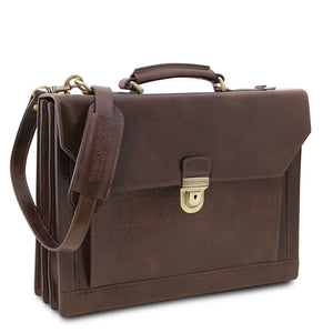 Angled And Shoulder Strap View Of The Dark Brown Professional Leather Briefcase