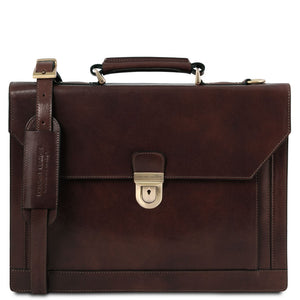 Front View Of The Dark Brown Professional Leather Briefcase