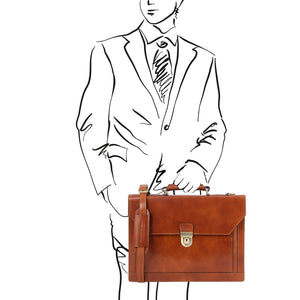 Man Posing With The Honey Professional Leather Briefcase