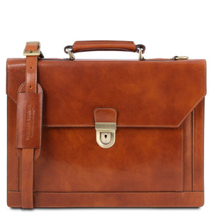 Front View Of The Honey Professional Leather Briefcase