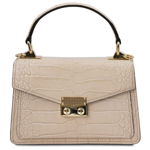 Front View Of The Beige Croc Print Handbag