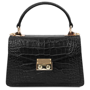 Front View Of The Black Croc Print Handbag
