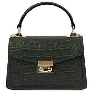 Front View Of The Forest Green Croc Print Handbag