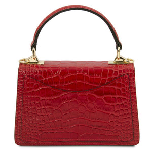 Rear View Of The Lipstick Red Croc Print Handbag