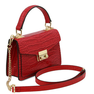 Angled And Shoulder Strap View Of The Lipstick Red Croc Print Handbag