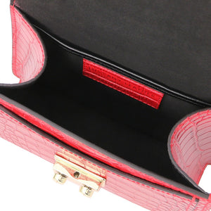 Internal Compartment View Of The Lipstick Red Croc Print Handbag
