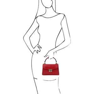 Women Holding The Lipstick Red Croc Print Handbag