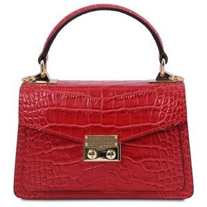 Front View Of The Lipstick Red Croc Print Handbag