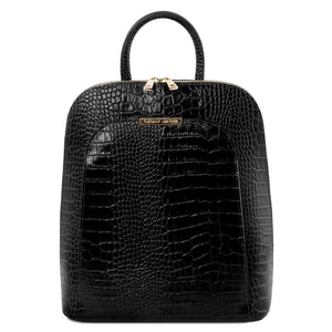 Front View Of The Black Leather Backpack for Women