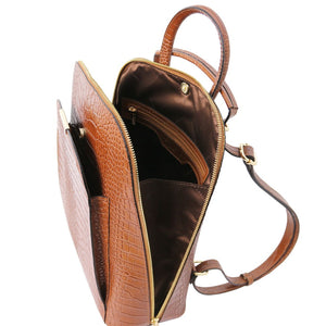 Angled external Zipper Opening View Of The Cinnamon Leather Backpack for Women