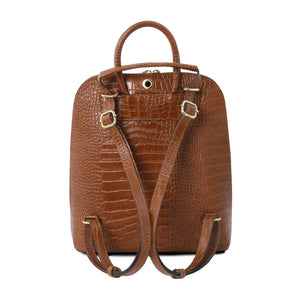 Rear View Of The Cinnamon Leather Backpack for Women