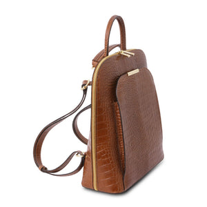 Angled And Shoulder Strap View Of The Cinnamon Leather Backpack for Women