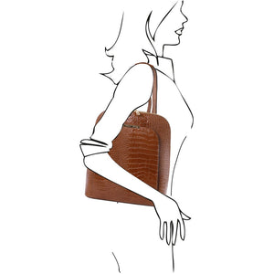 Over The Shoulder View Of The Cinnamon Leather Backpack for Women
