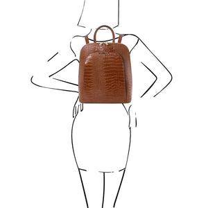 Women Posing With The Cinnamon Leather Backpack for Women