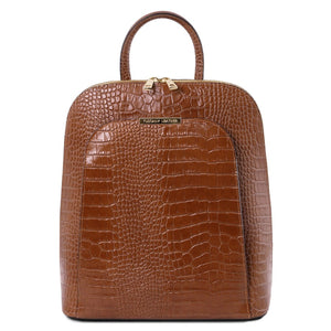 Front View Of The Cinnamon Leather Backpack for Women