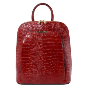 Front View Of The Red Leather Backpack for Women