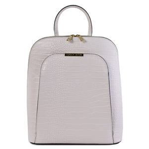 Front View Of The White Leather Backpack for Women