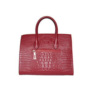 Rear View Of The Dark Red Leather Handbag For Ladies