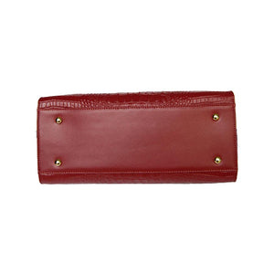 Underneath View Of The Dark Red Leather Handbag For Ladies