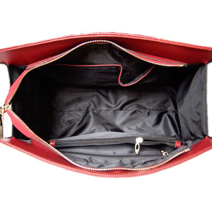 Internal View Of The Dark Red Leather Handbag For Ladies